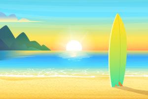 Beach Horizon Sunset Illustration