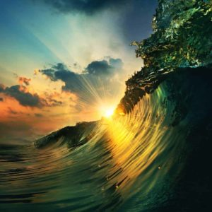 Ocean Wave Falling Sunset 1
