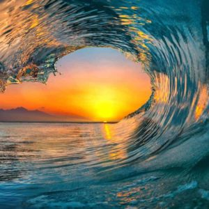 Ocean Wave Falling Sunset 2