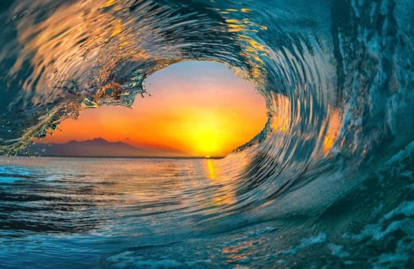 Ocean Wave Falling Sunset 2