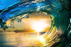 Ocean Wave Falling Sunset 3
