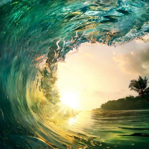 Ocean Wave Falling Sunset 4