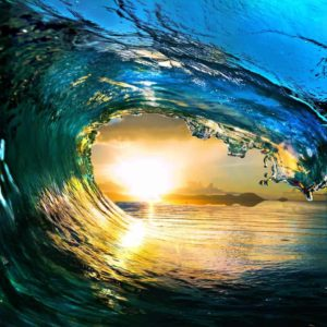 Ocean Wave Falling Sunset 5