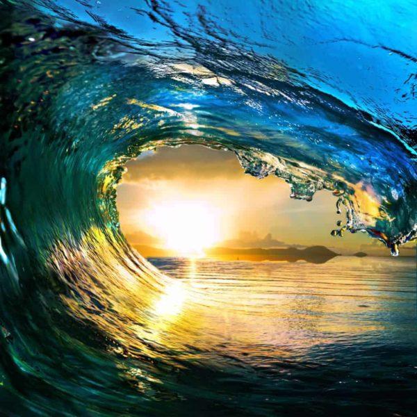 Ocean Wave Falling Sunset 5