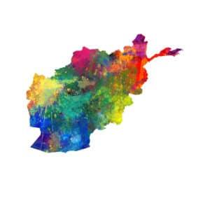 Afghanistan Watercolor Map unique digital wall art canvas framed prints
