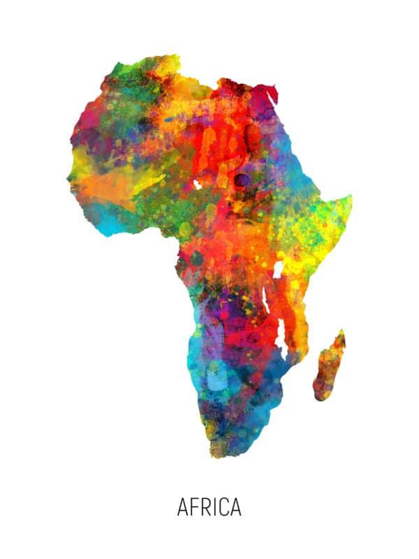 Africa Watercolor Map unique digital wall art canvas framed prints