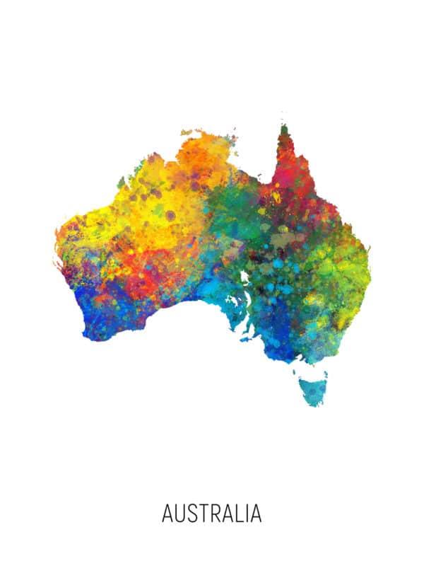 Australia Watercolor Map unique digital wall art canvas framed prints