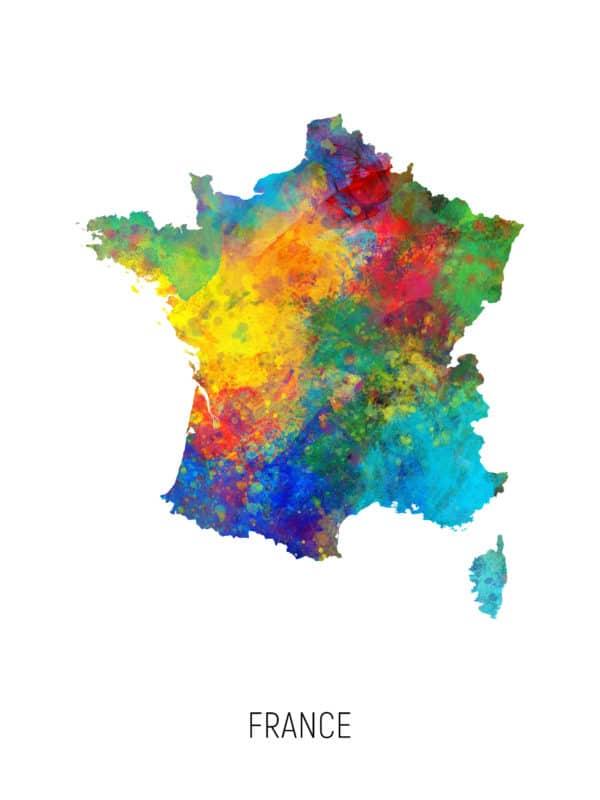 France Watercolor Map unique digital wall art canvas framed prints