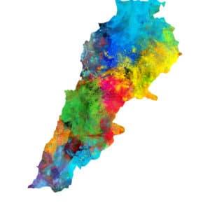 Lebanon Watercolor Map unique digital wall art canvas framed prints