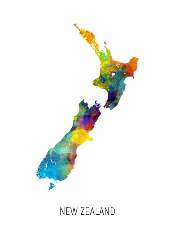New Zealand Watercolor Map unique digital wall art canvas framed prints