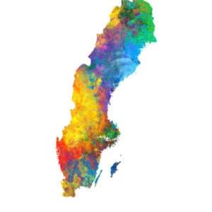 Sweden Watercolor Map unique digital wall art canvas framed prints