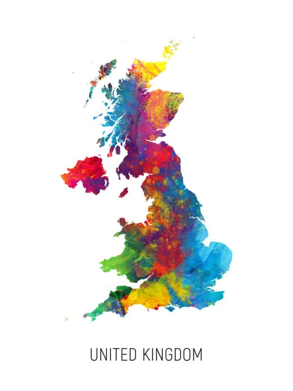 United Kingdom Watercolor Map unique digital wall art canvas framed prints