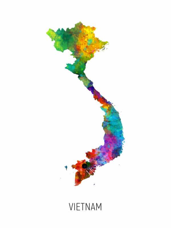 Vietnam Watercolor Map unique digital wall art canvas framed prints