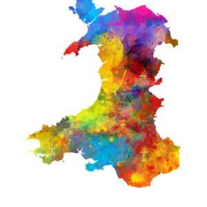 Wales Watercolor Map unique digital wall art canvas framed prints