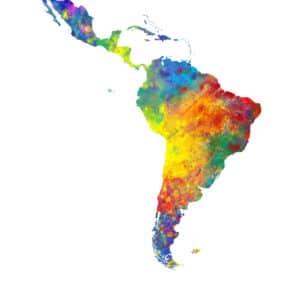 Latin America Watercolor Map unique digital wall art canvas framed prints