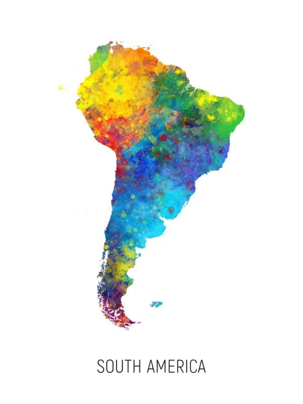 South America Watercolor Map unique digital wall art canvas framed prints
