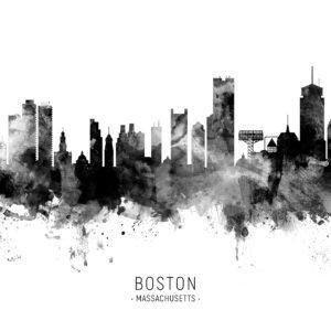 Boston Massachusetts Skyline unique digital wall art canvas framed prints