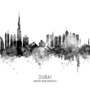 Dubai Skyline unique digital wall art canvas framed prints