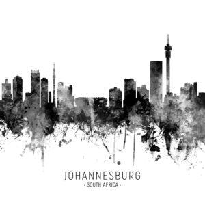 Johannesburg South Africa Skyline unique digital wall art canvas framed prints