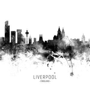 Liverpool England Skyline unique digital wall art canvas framed prints