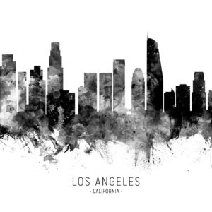 Los Angeles California Skyline unique digital wall art canvas framed prints