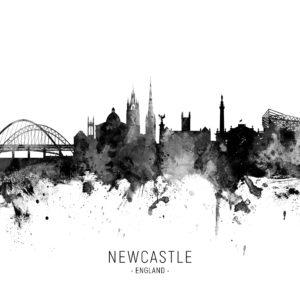 Newcastle England Skyline unique digital wall art canvas framed prints