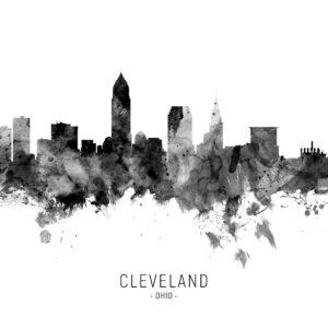 Cleveland Ohio Skyline unique digital wall art canvas framed prints