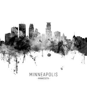 Minneapolis Minnesota Skyline unique digital wall art canvas framed prints