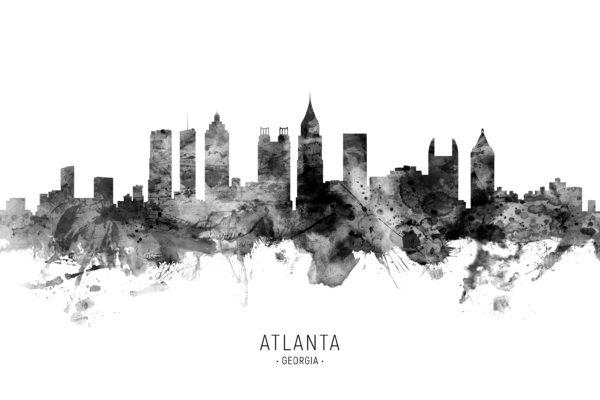 Atlanta Georgia Skyline unique digital wall art canvas framed prints