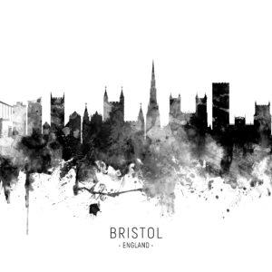 Bristol England Skyline unique digital wall art canvas framed prints