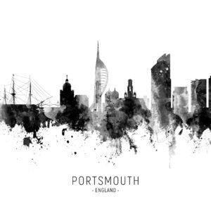Portsmouth England Skyline unique digital wall art canvas framed prints