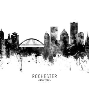 Rochester New York Skyline unique digital wall art canvas framed prints