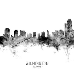 Wilmington Delaware Skyline unique digital wall art canvas framed prints