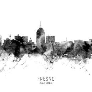 Fresno California Skyline unique digital wall art canvas framed prints