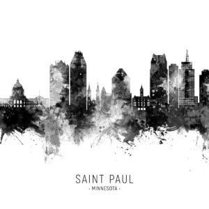 Saint Paul Minnesota Skyline unique digital wall art canvas framed prints