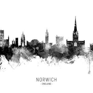 Norwich England Skyline unique digital wall art canvas framed prints