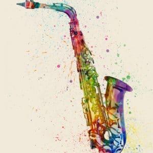 Saxophone Abstract Watercolor unique digital wall art canvas framed prints