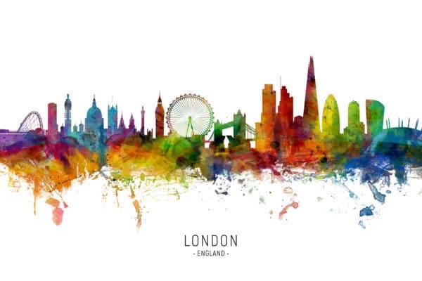 London England Skyline unique digital wall art canvas framed prints