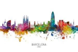 Barcelona Spain Skyline unique digital wall art canvas framed prints