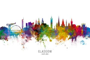 Glasgow Scotland Skyline unique digital wall art canvas framed prints
