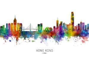 Hong Kong Skyline unique digital wall art canvas framed prints