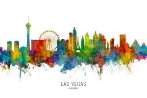 Las Vegas Nevada Skyline unique digital wall art canvas framed prints