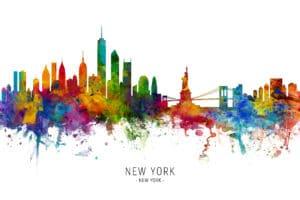 New York Skyline unique digital wall art canvas framed prints
