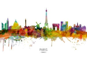 Paris France Skyline unique digital wall art canvas framed prints