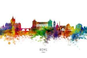 Rome Italy Skyline unique digital wall art canvas framed prints