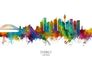 Sydney Australia Skyline unique digital wall art canvas framed prints