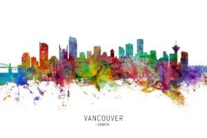 Vancouver Canada Skyline unique digital wall art canvas framed prints