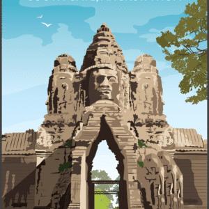 Angkor Wat, South gate, angkor thom, Cambodia rustic digital canvas wall art print