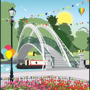Bedford River Festival Suspension Bridge rustic digital canvas wall art print