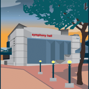 Birmingham Symphony Hall rustic digital canvas wall art print